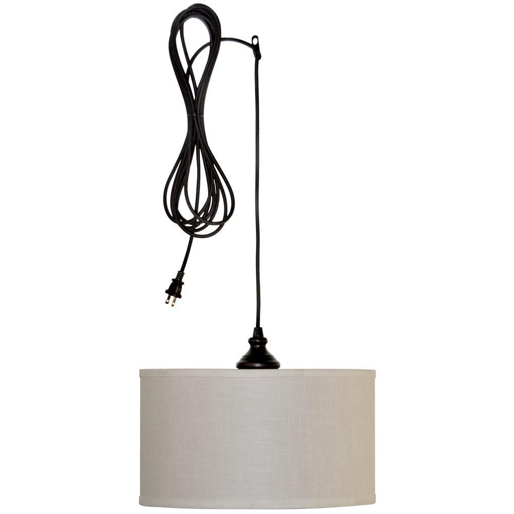 Pendant lighting plug in Bulb Hampton Bay Carroll 1light Brushed Nickel Pendant With Fabric Drum Shadees4763sbad The Home Depot The Home Depot Hampton Bay Carroll 1light Brushed Nickel Pendant With Fabric Drum