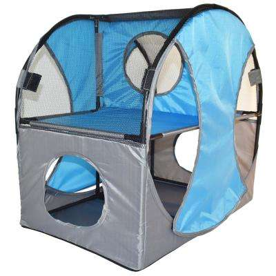 Blue and Grey Kitty-Play Obstacle Travel Collapsible Soft Folding Pet Cat House