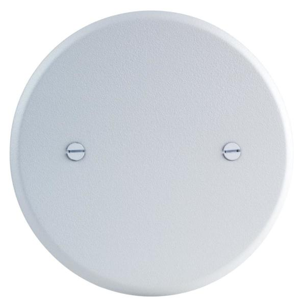 5 in. Round Blank Metal Flat Cover, White Textured