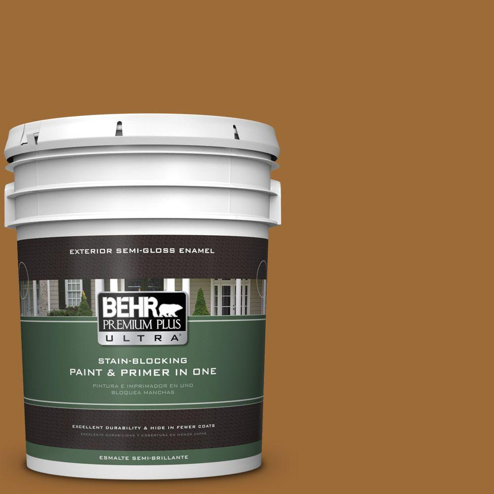 BEHR Premium Plus Ultra 5-gal. #PPU6-1 Curry Powder Semi-Gloss Enamel Exterior Paint