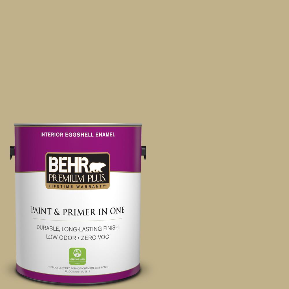 BEHR Premium Plus 1-gal. #380F-5 Harmonic Tan Zero VOC Eggshell Enamel Interior Paint