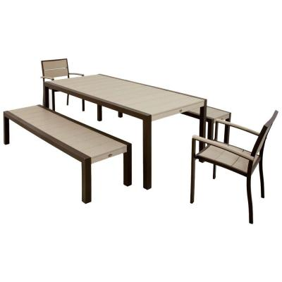 Surf City Textured Bronze 5-Piece Bench Plastic Outdoor Patio Dining Set with Sand Castle Slats