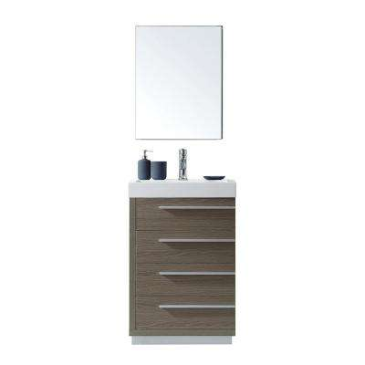 Bailey 24 in. W Bath Vanity in Gray Oak with Polymarble Vanity Top in White with Square Basin and Mirror and Faucet