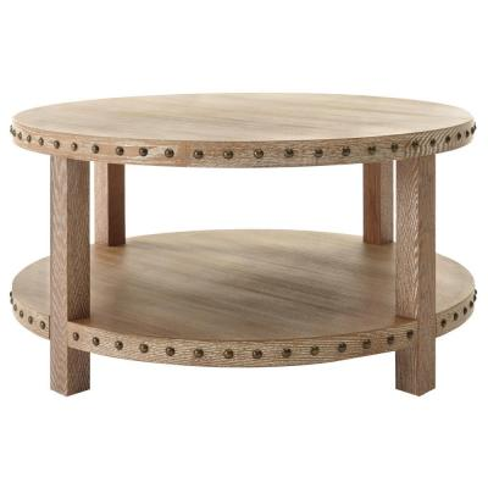 Nailhead Light Washed Oak Coffee Table