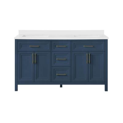Mayfield 60 in. W x 22 in. D Vanity in Grayish Blue with Cultured Marble Vanity Top in White with White Basins