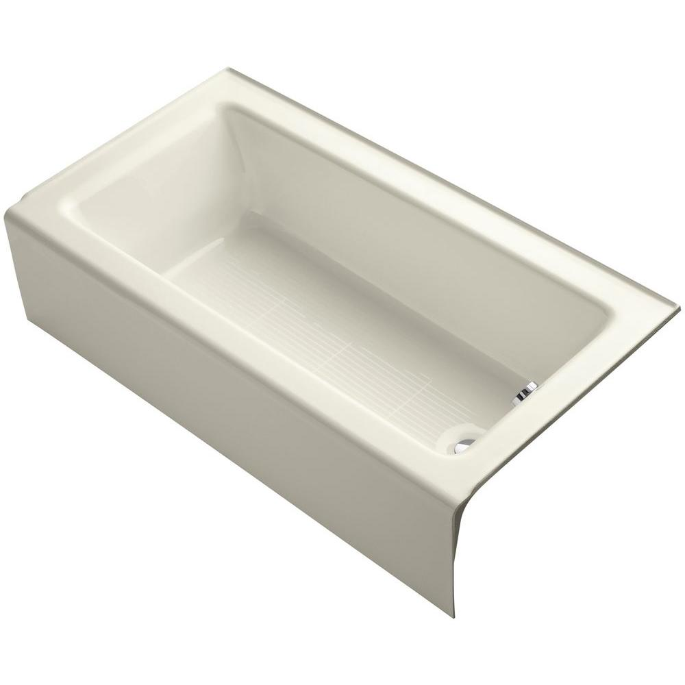 Bellwether 5 ft. Rectangle Right Drain Soaking Tub in Biscuit