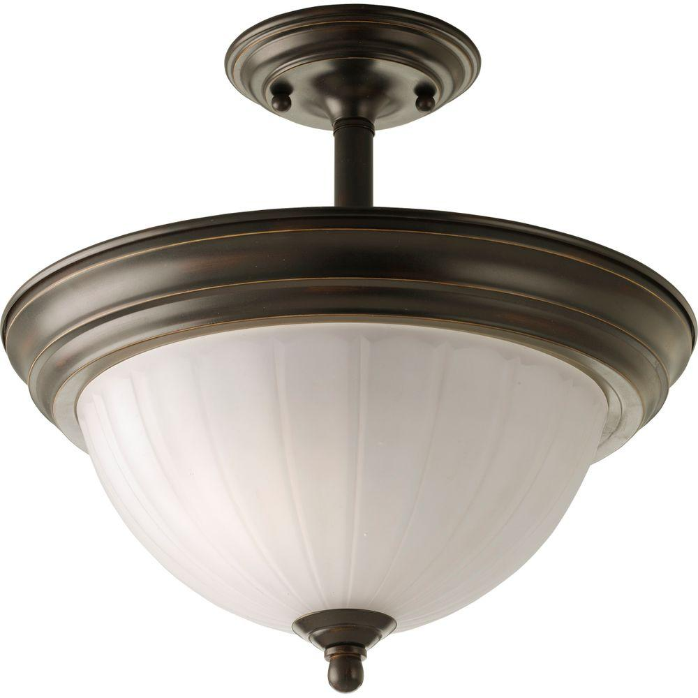2-Light Antique Bronze Semi-Flush Mount