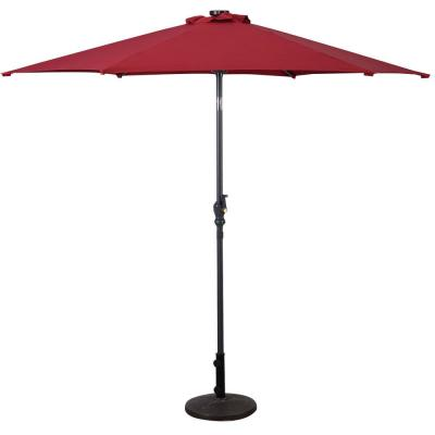 9 ft. Steel Cantilever LED Patio Umbrella with Crank in Burgundy