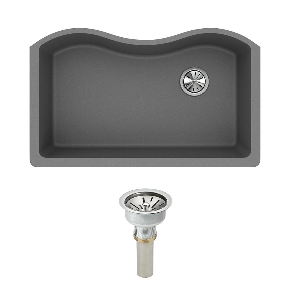 Elkay Quartz Classic Undermount Composite 33 in. Single Bowl Kitchen Sink  in Greystone with Drain