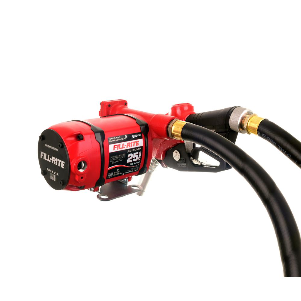 Automatic Nozzle Fill-Rite NX25-120NB-AB 120V 25 GPM Continuous Duty NPT Threaded Bung Mounted Fuel Transfer Pump w//Discharge Hose Digital Meter