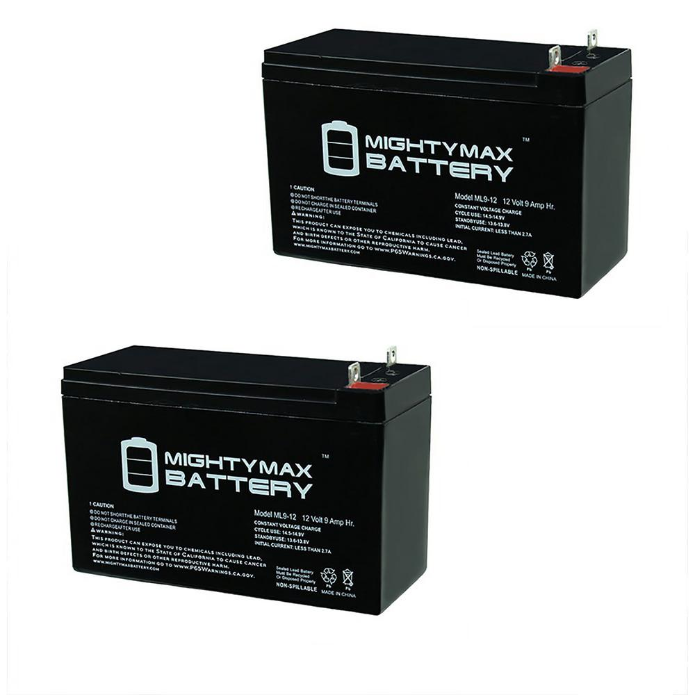 MIGHTY MAX BATTERY 12-Volt 9 Ah SLA (Sealed Lead Acid) Nut and Bolt Terminal AGM Type Replacement Battery for UPS Systems (2-Pack) Delivering power when you need it, the MIGHTY MAX ML9-12 12-Volt 9 Ah uses a state of the art, heavy-duty, calcium-alloy grid that provides exceptional performance and service life in both float and cyclic applications. The ML9-12 is an Absorbent Glass Mat (AGM) technology with a valve regulated design, that can be used in enclosed and indoor environments without leaking or maintenance, providing a superior performance for thousands of models. MIGHTY MAX SLA batteries are utilized in a wide variety of applications including, Consumer Electronics, Electric Vehicles, Engine Starters, Golf Carts, Hunting, Lawn and Garden Tools, Medical Mobility, Motorcycles, Power sports, Portable Tools, Solar, Toys and Hobby, Access Control Devices, Emergency Lighting, Security and more.