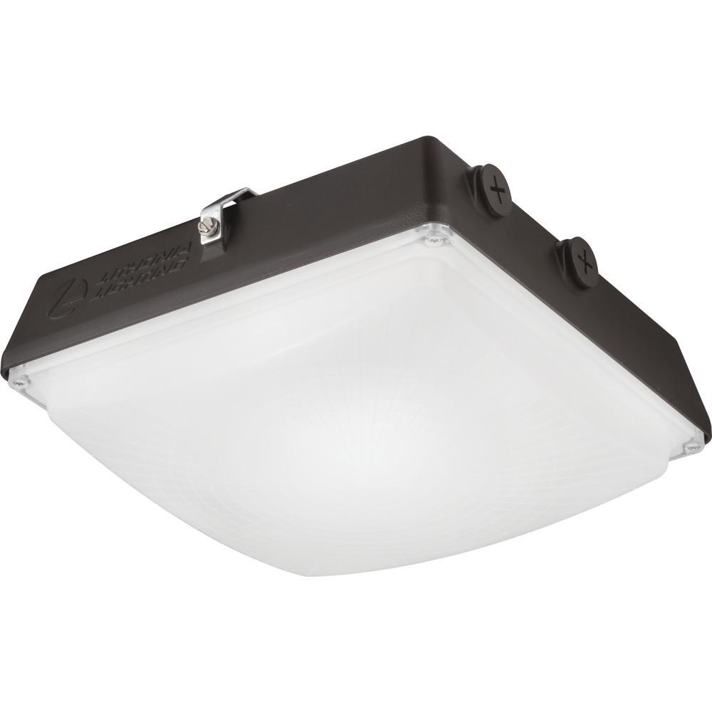 Contractor Select CNY 150-Watt Equivalent 4500 Lumens Integrated LED Dark Bronze Canopy Light Fixture, 4000K