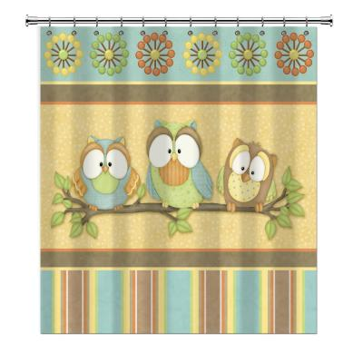 Who's Hoo Owl 72 in. Multicolored Shower Curtain