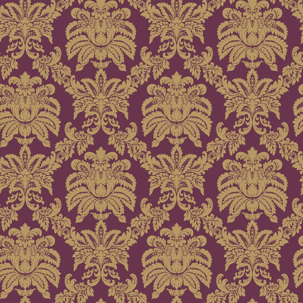 The Wallpaper Company 56 sq. ft. Purple And Metallic Sweeping Damask Wallpaper
