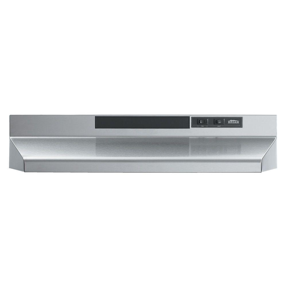 Broan F40000 Series 24 In Convertible Under Cabinet Range Hood With Light Stainless Steel