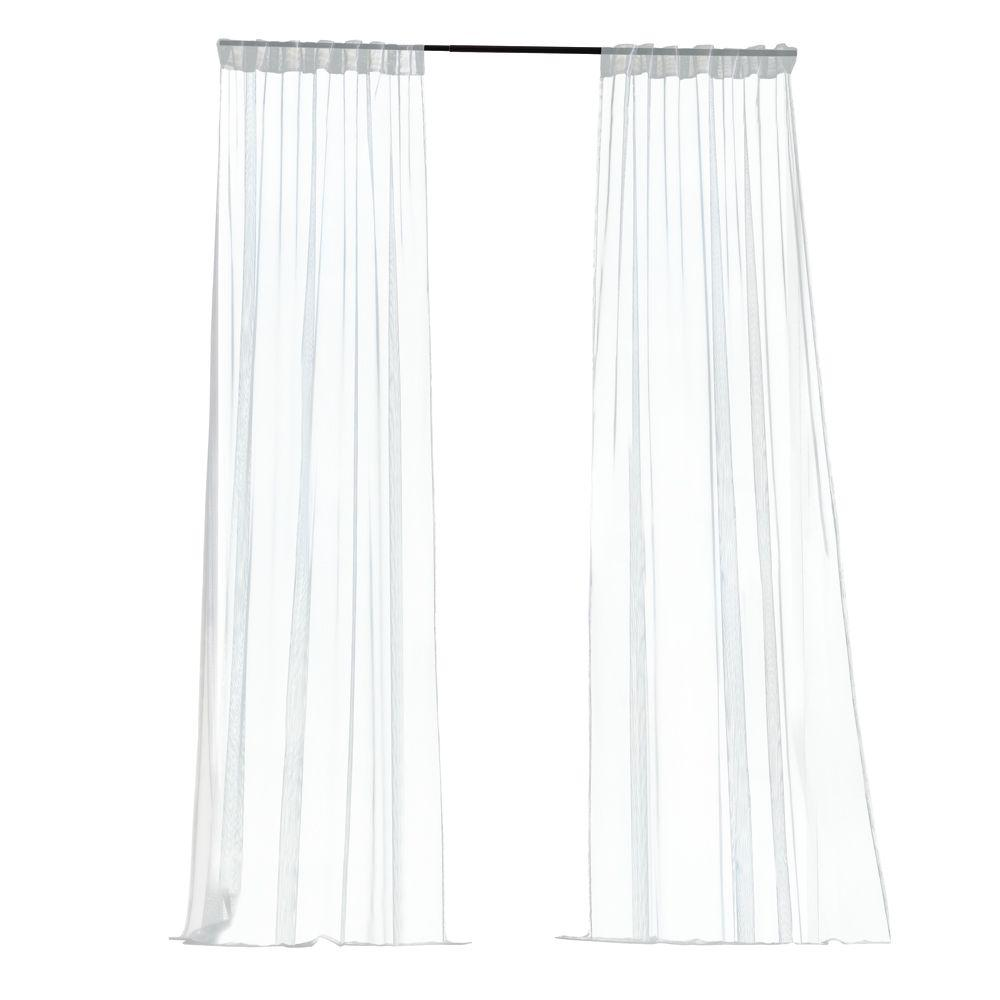 Home Decorators Collection Sheer White Mesh Outdoor Back Tab Curtain (Price Varies by Style)