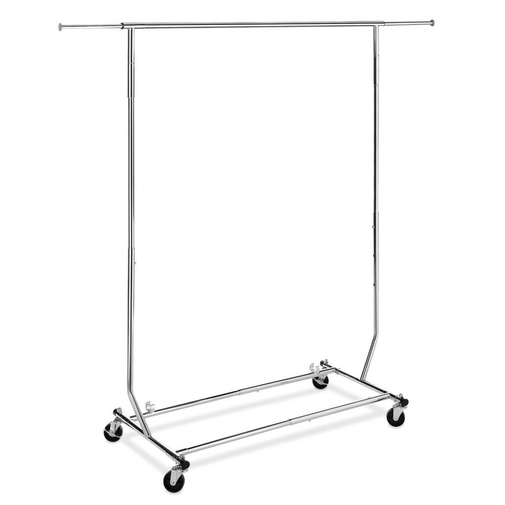 Whitmor Metal 73 in. W x 70.5 in. H Folding Garment Rack, Grey This heavy-duty garment rack assembles easily with no tools. It also folds down for easy compact storage. The sturdy hanging bar is made of chromed steel. The wheels are included and the height and width are both adjustable. Color: Chrome.