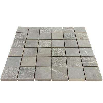 Evermore Dark Gray Textured Marble Look 11.87 in. x 11.87 in. Porcelain Mosaic Tile (.97 Sqft/ Sheet)