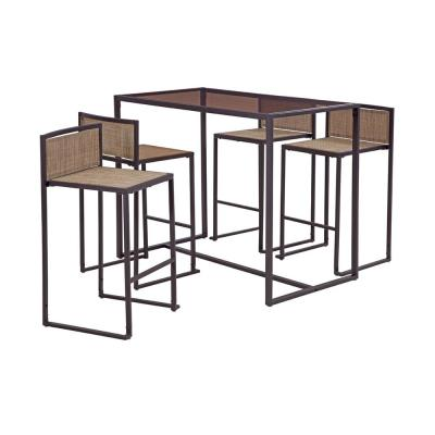 Drake Brown 5-Piece Metal Rectangle Bar Height Outdoor Dining Set
