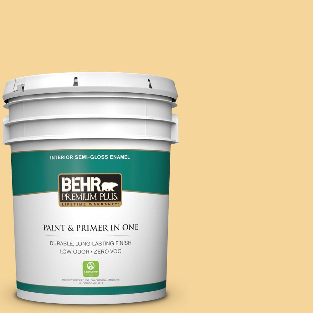 BEHR Premium Plus 5-gal. #350C-3 Applesauce Zero VOC Semi-Gloss Enamel Interior Paint