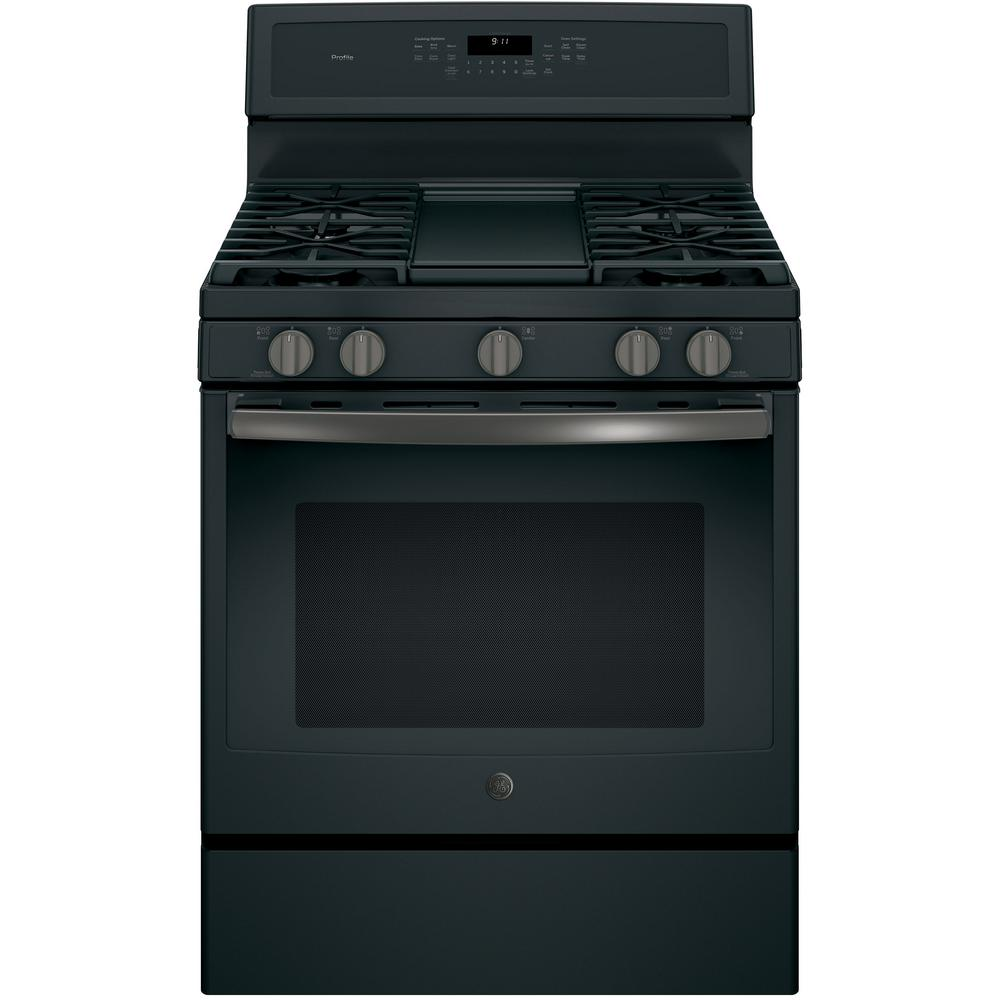 GE Profile 30 in. 5.6 cu. ft. Gas Range with Self-Cleaning Convection Oven in Black Slate, Fingerprint Resistant