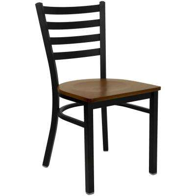 Hercules Series Black Ladder Back Metal Restaurant Chair with Cherry Wood Seat