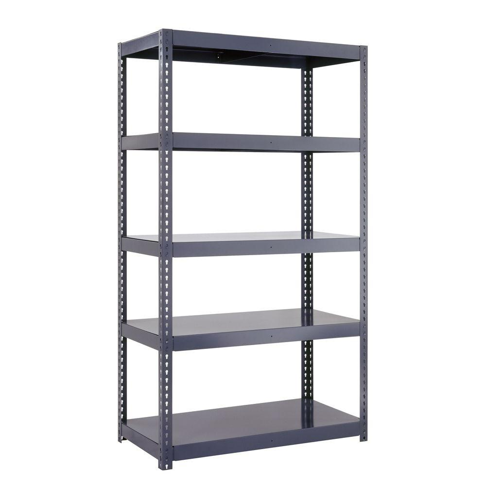 Edsal 96 in. H x 48 in. W x 24 in. D 5-Shelf High Capacity Boltless Steel Shelving Unit in Gray