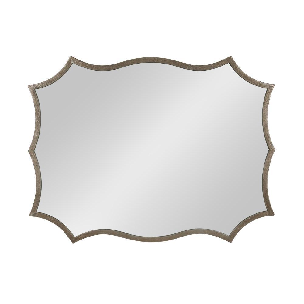 Estrellia Modern Scalloped Rectangle Wall Mirror Other Silver