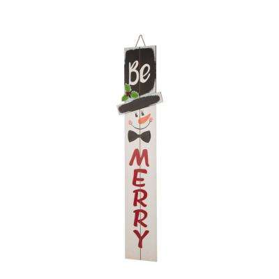 42.00 in. H Wooden Snowman Porch Sign - MERRY