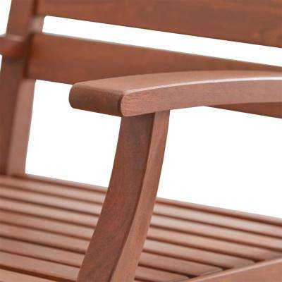 Verdon Gorge Brown Oiled Wood Modern Outdoor Dining Arm Chair (Set of 2)