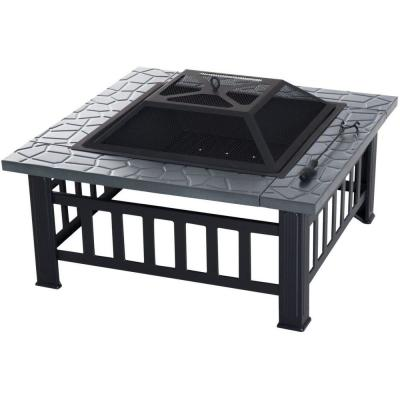 32 in. W x 18 in. H Square Sturdy Steel Wood and Coal Burning Black Fire Pit with Poker and Water Resistant Cover