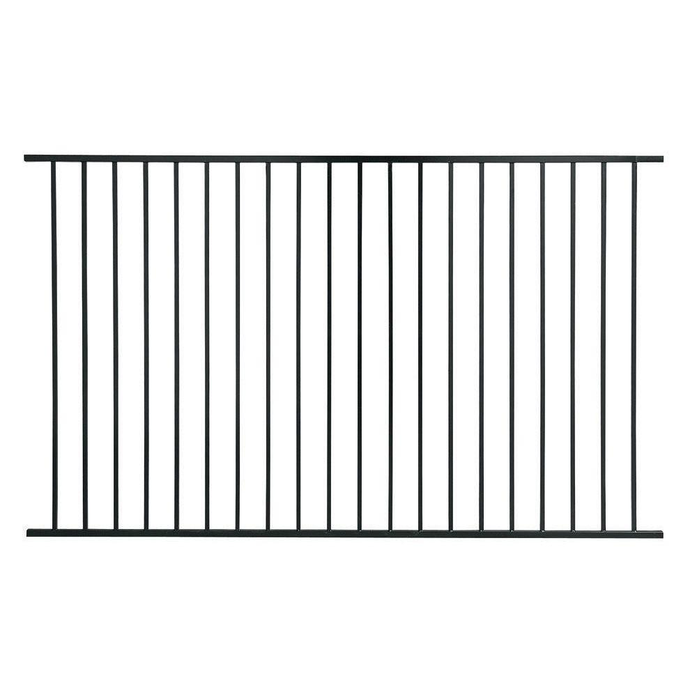 First Alert PREMIUM Series 4 ft. H x 8 ft. W Black Galvanized Steel 2-Rail Fence Panel (4-Pack)