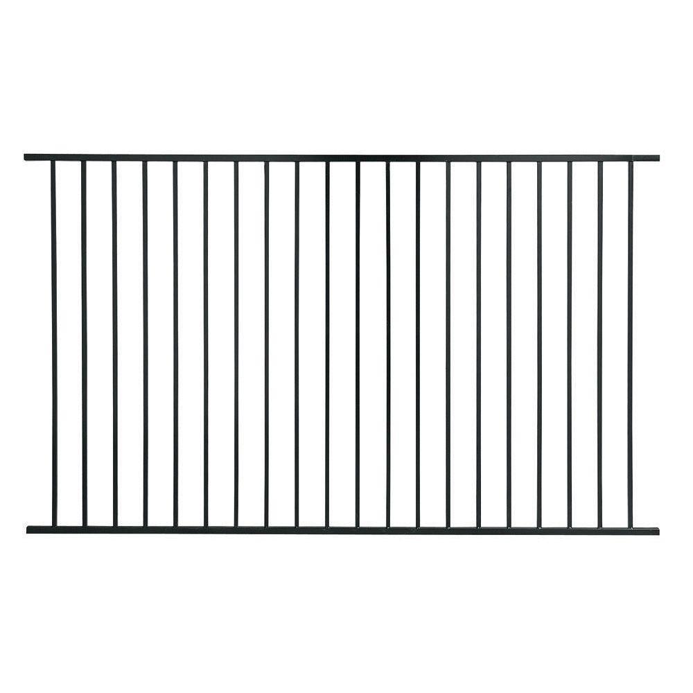 First Alert PREMIUM Series 4 ft. H x 8 ft. W Black Galvanized Steel 2-Rail Fence Panel (8-Pack)