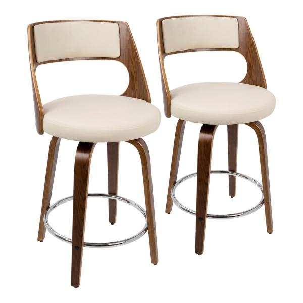 Cecina 24 in. Walnut with Cream Faux Leather Counter Stool (Set of 2)