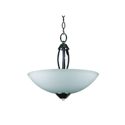 Paloma Collection 3-Light Chrome Bowl Pendant with Dove White Glass Shade