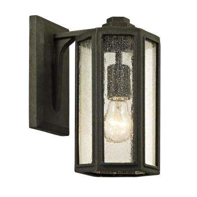 Hancock 1-Light Vintage Bronze 11 in. H Outdoor Wall Lantern Sconce with Clear Seeded Glass
