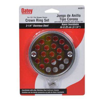 Oatey 3-1/4 in. Round Strainer and Tile Ring in Stainless Steel