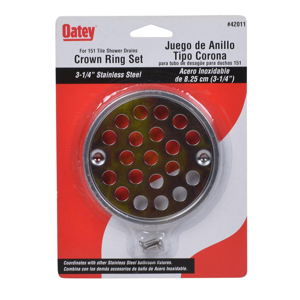 Oatey Oatey 3-1/4 in. Round Strainer and Tile Ring in Stainless Steel
