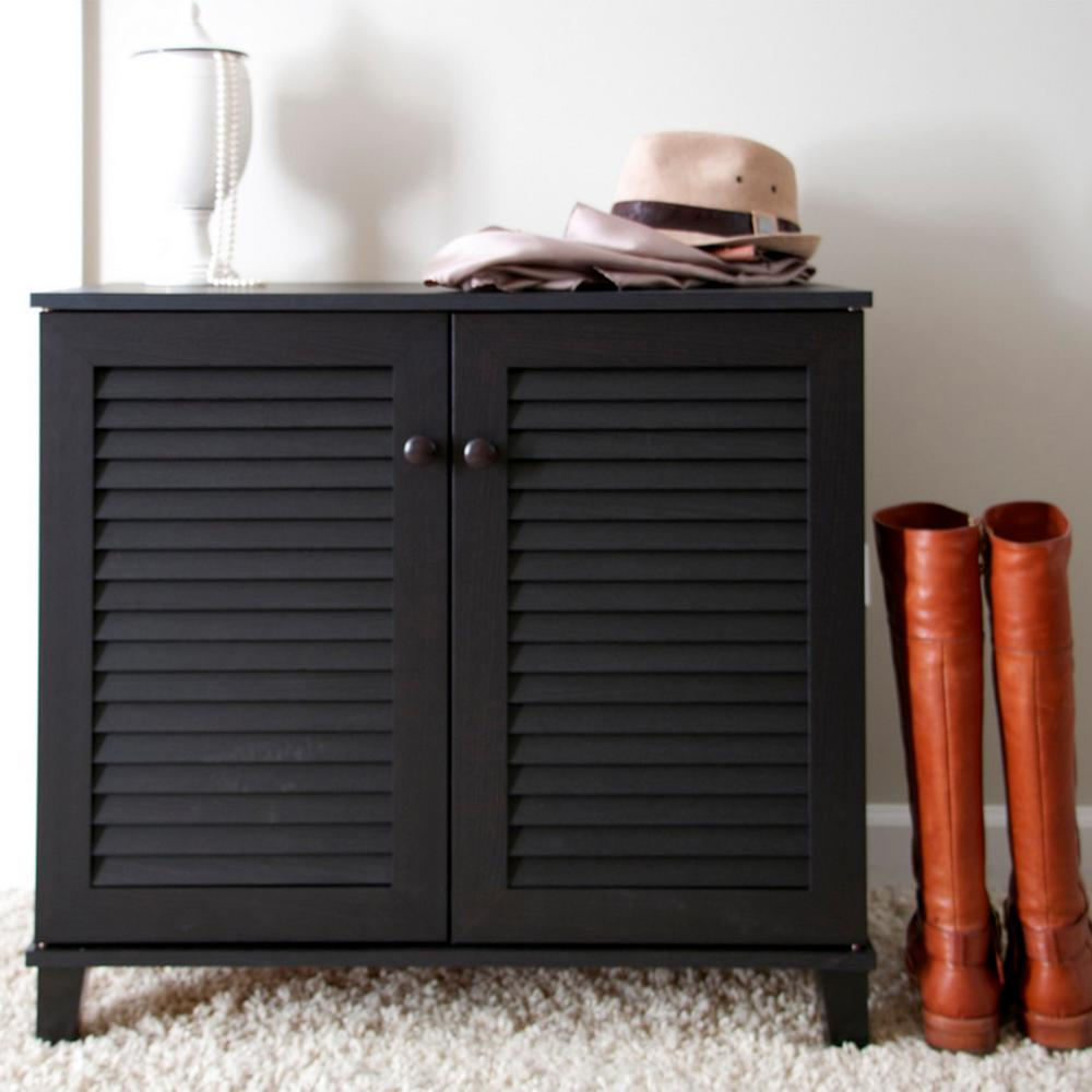 Coolidge Wood Shoe Storage Cabinet in Dark Brown : wood shoe cabinet - Cheerinfomania.Com
