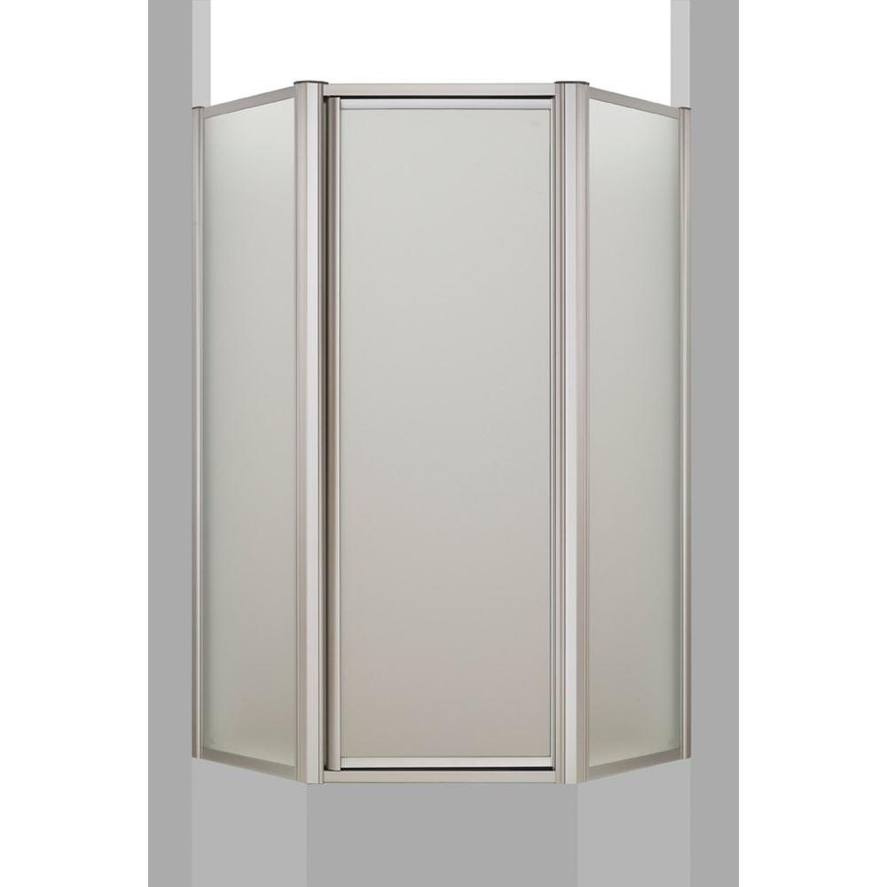 KOHLER Memoirs 37-11/16 in. x 38-7/16 in. x 72 in. Neo-Angle Shower Door in Matte Nickel Frame with Frosted Glass-DISCONTINUED