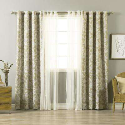 uMIXm Tulle and Henna Beige Flower Curtain - 52 in. W x 84 in. L (4-Pack)