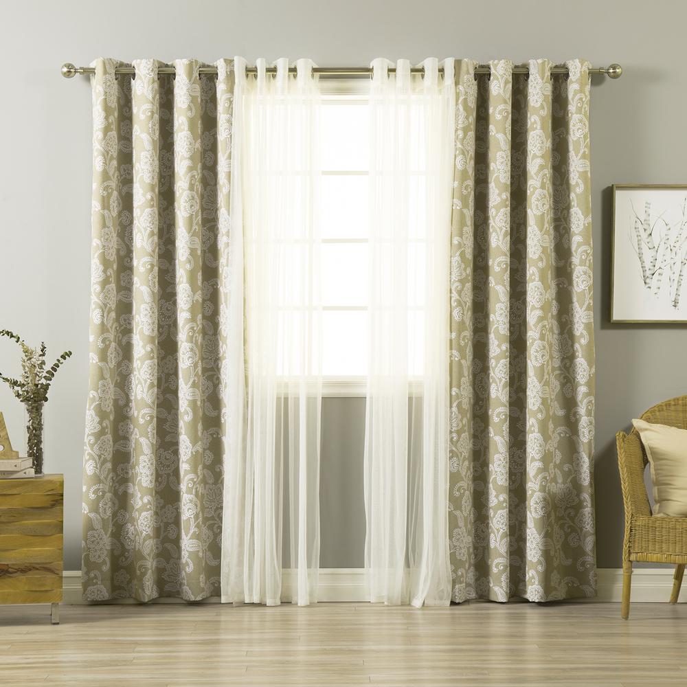 best home fashion umixm tulle and henna beige flower. Black Bedroom Furniture Sets. Home Design Ideas