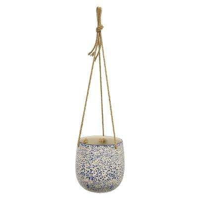 6.5 in. Ceramic Hanging Planter in Blue