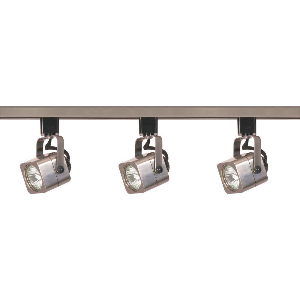 Glomar 3 Light Mr16 Square Line Voltage Brushed Nickel Track Lighting Kit