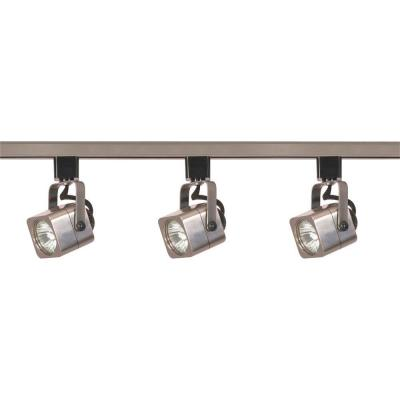 3-Light MR16 Square Line Voltage Brushed Nickel Track Lighting Kit