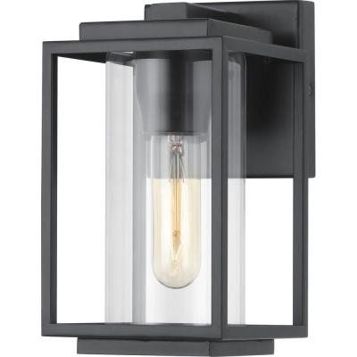 Macstreet 1-Light 9 In. Matte Black Outdoor Wall Lantern with Clear Glass