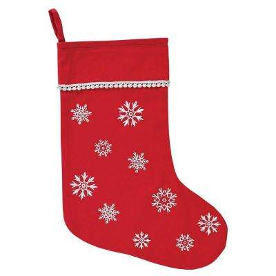 15 in. Winter Wonderment Bright Red Traditional Christmas Decor Stocking