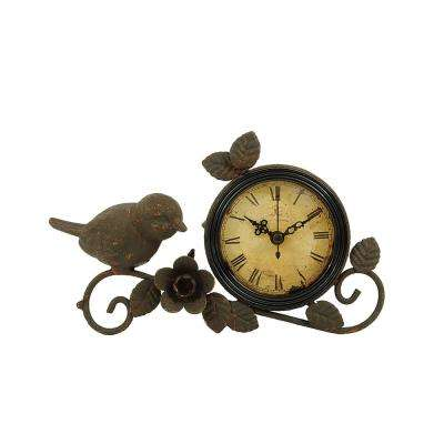 10 in. H Metal Rust Mantle Clock with Bird and Flower