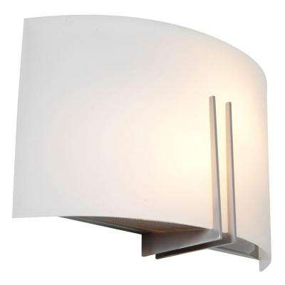 Prong 1-Light Brushed Steel LED Wall Fixture with White Glass Shade