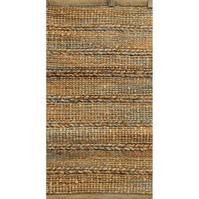 Woven Brown/Blue 2 ft. x 5 ft. Braided Natural Jute Area Rug